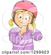 Blond White Girl Fastening A Helmet