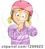 Clipart Of A Blond White Girl Fastening A Helmet Royalty Free Vector Illustration