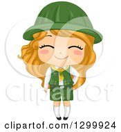 Clipart Of A Happy Blond White Girl Scout In Uniform Royalty Free Vector Illustration by BNP Design Studio