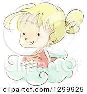 Clipart Of A Sketched Blond White Girl Sitting On A Cloud Royalty Free Vector Illustration