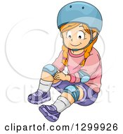 Clipart Of A Red Haired White Girl Applying Knee Pads Royalty Free Vector Illustration