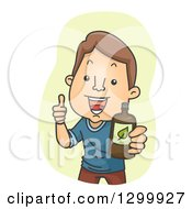 Clipart Of A Cartoon Brunette White Man Giving A Thumb Up And Holding Out A Drink Or Medicine Royalty Free Vector Illustration