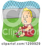 Clipart Of A Cartoon Blond White Man Suffering From Leg Cramps During Soccer Practice Royalty Free Vector Illustration