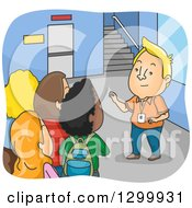 Clipart Of A Cartoon Blond White Man Giving Freshment A College Campus Tour Royalty Free Vector Illustration