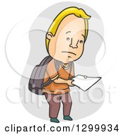 Clipart Of A Cartoon Blond White Male College Student Looking Down At A Badly Graded Paper Royalty Free Vector Illustration