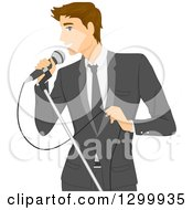 Clipart Of A Formal Brunette White Man In A Suit Singing Into A Microphone Royalty Free Vector Illustration by BNP Design Studio