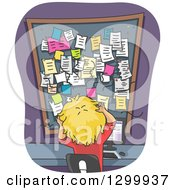 Rear View Cartoon Blond White Man Witha Full To Do Board