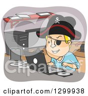 Clipart Of A Cartoon Blond White Man Pirating Dvds And Wearing A Hat At A Desk Royalty Free Vector Illustration