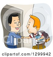 Clipart Of A Cartoon Friendly Asian Man Welcoming A White Foreign Exchange Student In His Home Royalty Free Vector Illustration