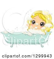 Clipart Of A Blond White Girl Soaking In A Bubble Bath Royalty Free Vector Illustration by BNP Design Studio
