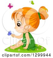 Clipart Of A Red Haired White Girl Sitting In Grass And Holding A Butterfly Royalty Free Vector Illustration by BNP Design Studio