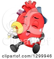 Clipart Of A Cartoon Heart Character Sweating And Using A Fan Royalty Free Vector Illustration