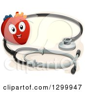 Clipart Of A Cartoon Heart Character With A Giant Stethoscope Royalty Free Vector Illustration by BNP Design Studio