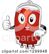 Clipart Of A Cartoon Blood Bag Character Holding A Thumb Up Royalty Free Vector Illustration by BNP Design Studio