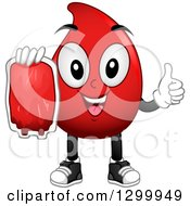 Clipart Of A Cartoon Blood Drop Character Holding A Bag And Thumb Up Royalty Free Vector Illustration