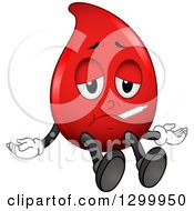 Clipart Of A Cartoon Sick Blood Drop Character With A Thermometer Royalty Free Vector Illustration by BNP Design Studio