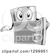 Clipart Of A Cartoon Refrigerator Character Showing Empty Shelves Royalty Free Vector Illustration