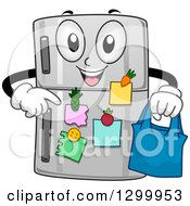 Clipart Of A Cartoon Refrigerator Character Holding A Bag And Pointing At Notes Royalty Free Vector Illustration