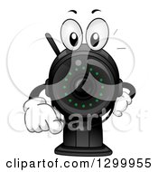 Clipart Of A Cartoon Surveillance Camera Character Pointing Outwards Royalty Free Vector Illustration