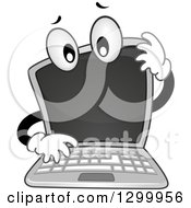Clipart Of A Cartoon Confused Laptop Computer Royalty Free Vector Illustration