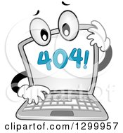 Clipart Of A Cartoon Confused Laptop With A 404 Error Notice On The Screen Royalty Free Vector Illustration
