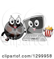 Clipart Of A Cartoon Laptop Computer And Film Reel With Popcorn Royalty Free Vector Illustration by BNP Design Studio