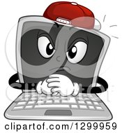 Clipart Of A Cartoon Bully Laptop Character Wearing A Hat Royalty Free Vector Illustration by BNP Design Studio