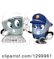 Clipart Of A Cartoon Laptop Computer Being Arrested By A Police Desktop Pc Royalty Free Vector Illustration by BNP Design Studio