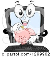 Clipart Of A Cartoon Desktop Computer Character Inserting Coins In A Piggy Bank Royalty Free Vector Illustration