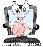 Cartoon Desktop Computer Character Inserting Coins In A Piggy Bank
