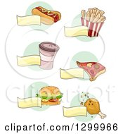 Clipart Of Sketched Coffee And Foods And Blank Banners Over Green Circles Royalty Free Vector Illustration