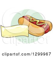 Clipart Of A Sketched Hot Dog And Blank Banner Over A Green Circle Royalty Free Vector Illustration by BNP Design Studio
