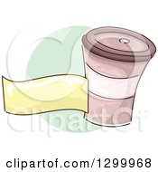 Clipart Of A Sketched Takeout Coffee Cup And Blank Banner Over A Green Circle Royalty Free Vector Illustration
