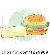 Clipart Of A Sketched Cheeseburger And Blank Banner Over A Green Circle Royalty Free Vector Illustration by BNP Design Studio