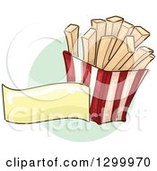 Clipart Of A Sketched Carton Of French Fries And Blank Banner Over A Green Circle Royalty Free Vector Illustration by BNP Design Studio