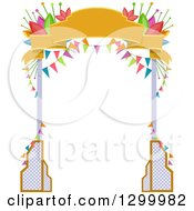 Clipart Of A Welcome Arch With Banners And Flowers Royalty Free Vector Illustration