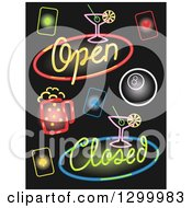 Clipart Of Colorful Bar Neon Signs On Black Royalty Free Vector Illustration
