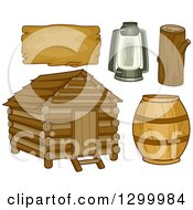 Clipart Of A Log Cabin Barrel Lantern Log And Sign Royalty Free Vector Illustration by BNP Design Studio