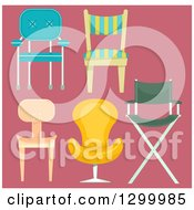 Clipart Of Chairs Over Pink Royalty Free Vector Illustration
