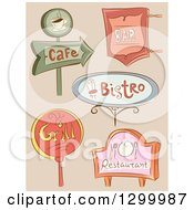 Clipart Of Sketched Sign Boards For Restaurants Royalty Free Vector Illustration