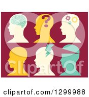 Clipart Of Silhouetted Heads Showing Different Metnal States Royalty Free Vector Illustration
