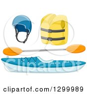 Clipart Of A Kayak With A Paddle Vest And Helmet Royalty Free Vector Illustration