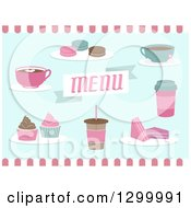 Coffee Shop Menu Desserts And Drinks On Pink White And Blue