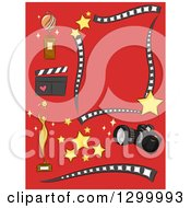 Clipart Of Camera Trophy Stars Clapper Photography And Filming Design Elements On Red Royalty Free Vector Illustration