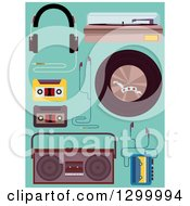 Clipart Of Music Equipment And Elements On Turquoise Royalty Free Vector Illustration