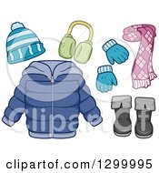 Clipart Of A Winter Coat Scarf Boots Mittens Hat And Earmuffs Royalty Free Vector Illustration