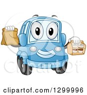 Clipart Of A Cartoon Blue Car Character With Take Out Food Containers Royalty Free Vector Illustration by BNP Design Studio