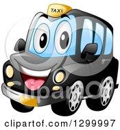 Cartoon Black Taxi Cab Character