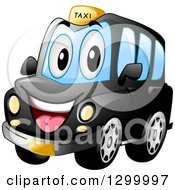 Clipart Of A Cartoon Black Taxi Cab Character Royalty Free Vector Illustration