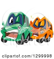 Clipart Of Cartoon Cars Colliding Royalty Free Vector Illustration